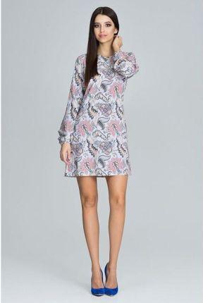 2213d6f441 Trapezowa Sukienka mini Kobieca prosta Kwiaty S Allegro