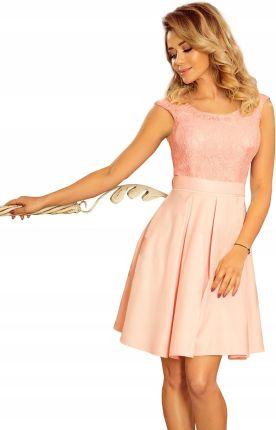d8027297c3 244-1 Flora sukienka z okrągłym dekoltem i koronką Allegro
