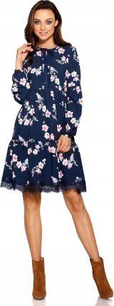 bb9425b5c2 Trapezowa Krótka Sukienka wzory Jesień zima L Allegro