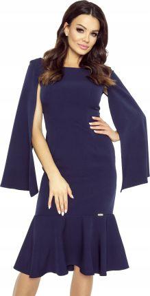 c459939231 Koktajlowa sukienka Rozcinane rękawy Xs granatowy Allegro