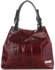 f0cdf66049f7b Modne Torebki Skórzane Firmowy Shopper Bag we wzór żółwia marki Vittoria  Gotti Bordo (kolory)