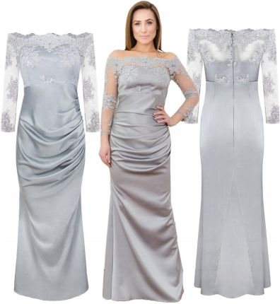 b6d3f6ca01 Długa wieczorowa sukienka koronkowa z rękawem 38 (TOP  Allegro