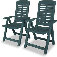 Vidaxl Rozkładane Krzesło Ogrodowe Plastik Zielone 177904