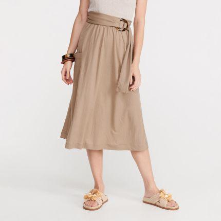 11ff6d97aa2e40 Reserved - Dzianinowa spódnica z kieszeniami - Beżowy ...