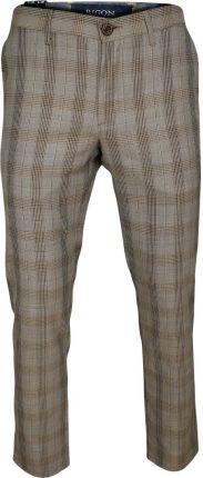 6246aff3c60134 Beżowe Casualowe Męskie Spodnie -RIGON- Zwężane, Bawełniane, Krata Księcia  Walii SPRGNEGE13196bez