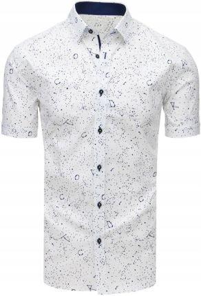 4262e0ba4cc703 Koszula męska elegancka z krótkim rękawem biała (kx0745) - Biały ...