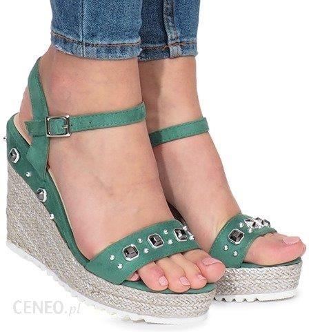 f352cb86541ae0 Zielone sandały na koturnie Glam Shine - Ceny i opinie - Ceneo.pl