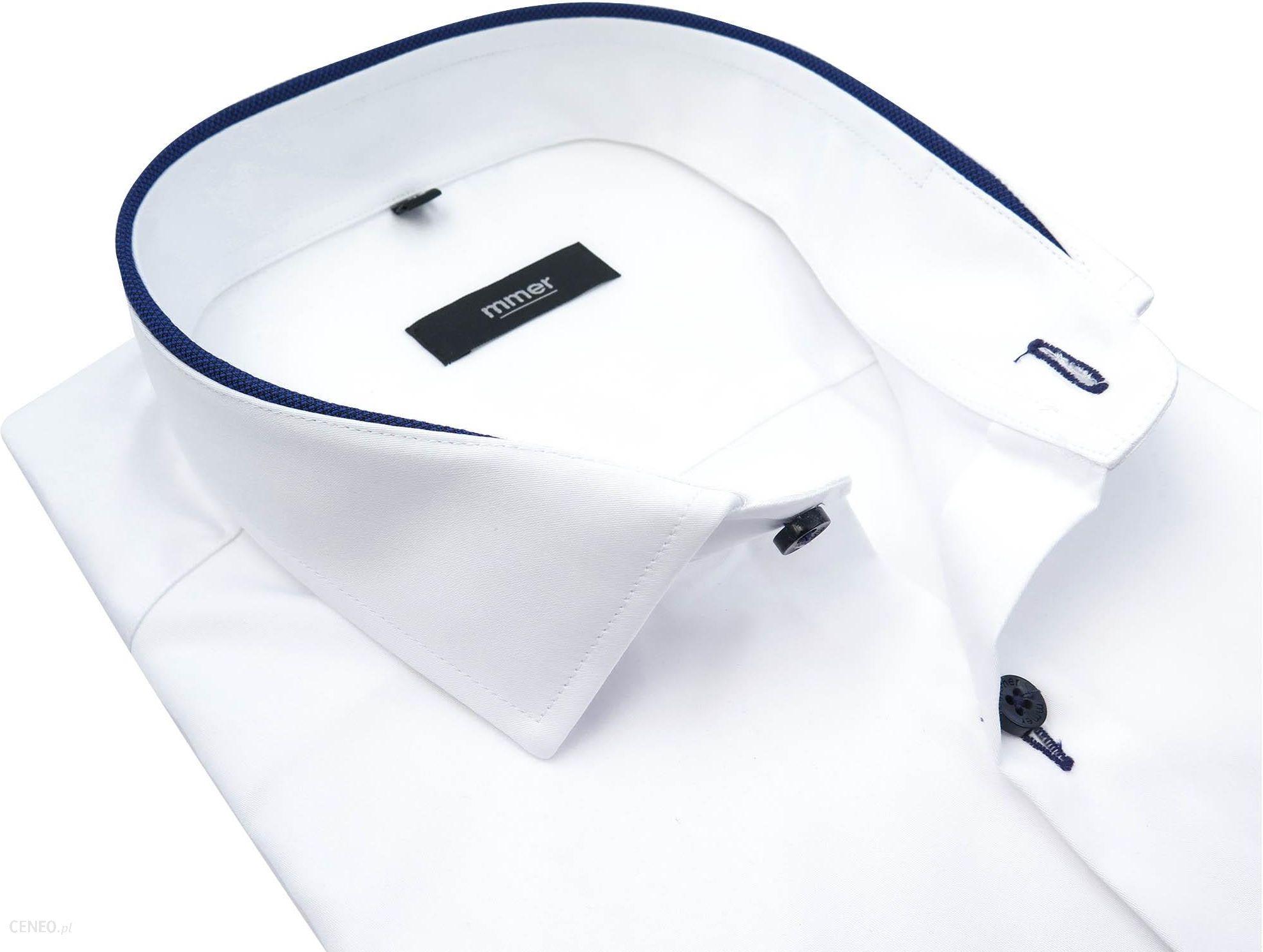 Mmer Koszule męskie Biała koszula z długim rękawem granatowe kontrasty 885 Ceny i opinie Ceneo.pl