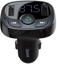 Baseus Transmiter Fm T Typed Bluetooth 2Xusb Microsd Czarny (Cctm01)