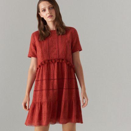 cdf4ce45d492aa Mohito - Bawełniana sukienka z angielskim haftem - Bordowy Mohito