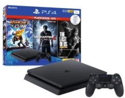 Produkt z Outletu: Sony PlayStation 4 Slim 1TB + Ratchet & Clank + Uncharted 4: Kres Złodzieja + The Last of Us Remastered