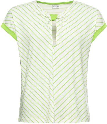 Shirt w prążek, z koronką, krótki rękaw Ceny i opinie