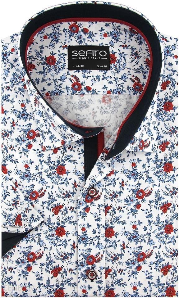Koszula Męska Sefiro biała w czerwone kwiaty SLIM FIT na  0ZMvx