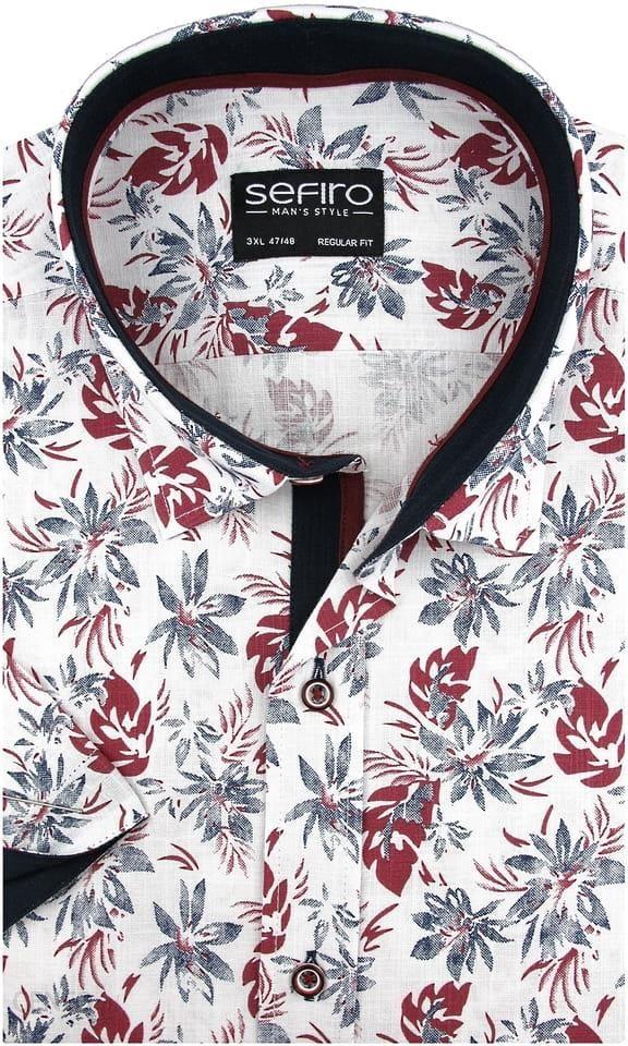 Lniana Duża Koszula Męska Sefiro biała w bordowe kwiaty na  hvWVv