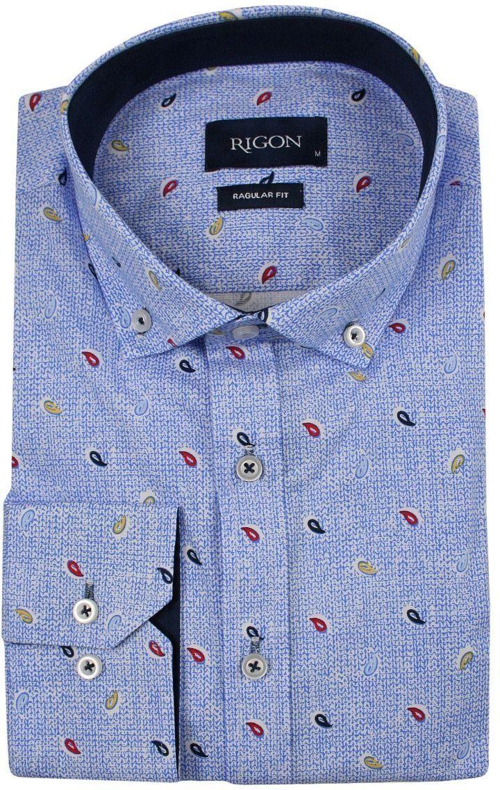 b0418ee1b6a635 Niebieska Koszula Męska, Wizytowa -RIGON- Krój Prosty, Długi Rękaw, Wzór  Paisley