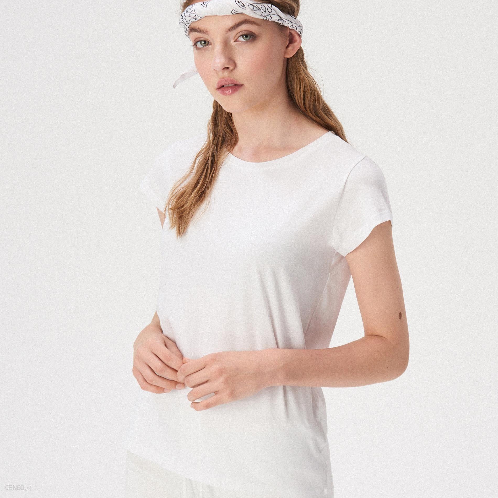 Sinsay Gładki t shirt basic Biały
