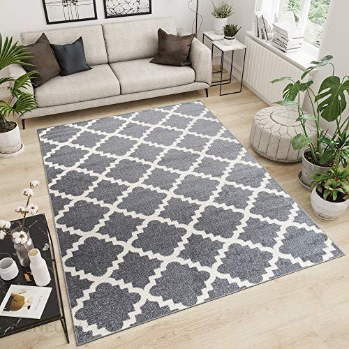 Amazon Designerski Dywan Do Salonu Z Krótkim Włosiem Nowoczesny Marokański Wzór Szary 60 X 100 Cm