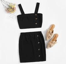 Buttoned Detail Thick Strap Top & Skirt Set