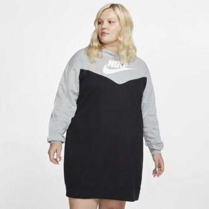 ddab203f1 Nike Sukienka damska z kapturem Nike Sportswear Heritage (duże rozmiary) -  Czerń