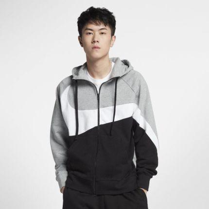 d39a54908 Nike Męska bluza dzianinowa z kapturem i zamkiem na całej długości Nike  Sportswear - Szary