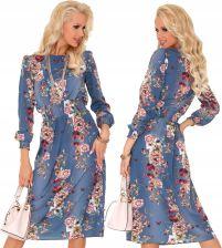 da918c51 Sukienka w Kwiaty Niebieska Midi Luźna na Lato S - Ceny i opinie ...