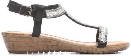 5efff779 Srebrne modne sandały ze srebrnymi klamrami Casu K18X12/S - Ceny i ...