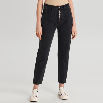 d5855490 Reserved - Jeansy z zamkami przy nogawkach - Czarny - Ceny i opinie ...