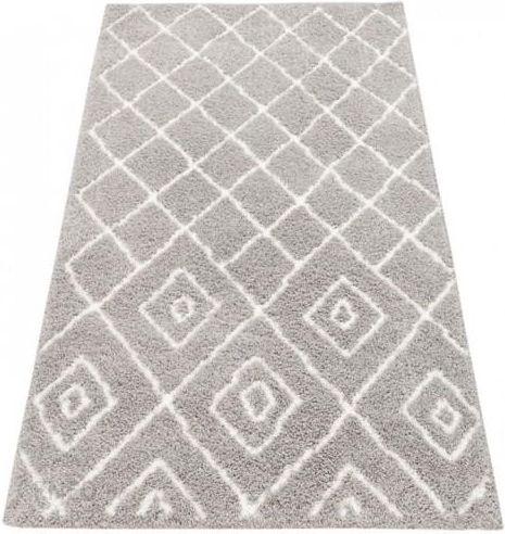 Myretail Dywan Shaggy Eco Komfort Mila 120x170 Szary Biały Romby Krata