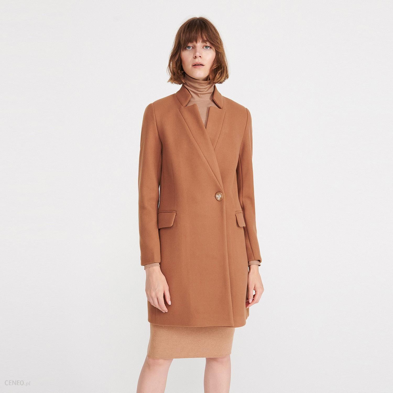 Reserved Wełniany płaszcz z paskiem Brązowy Wełnian… na
