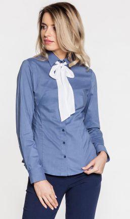 0ef59578731957 Ptak Moda Dłuższa bluzka koszulowa z ozdobną kokardą pod szyją ...