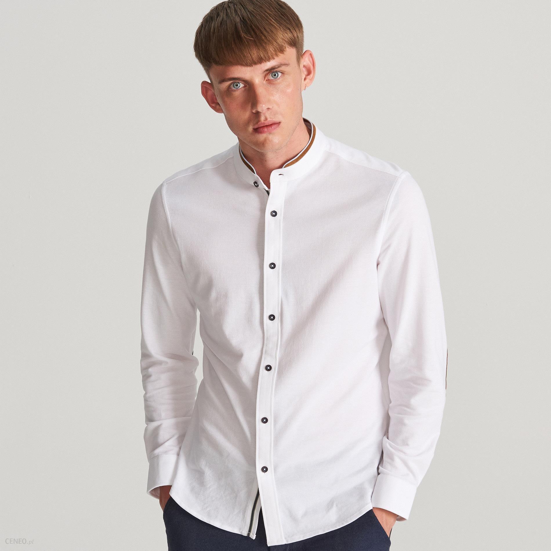 Reserved Koszula slim ze stójką Biały Ceny i opinie  TZZ0h
