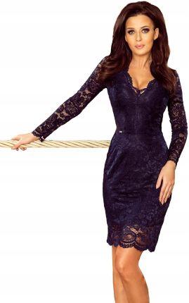 ecab92c8f Seksowna sukienka Z Dekoltem Granatowa S Allegro