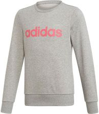 be9ec065f Bluza dziewczęca Linear Sweatshirt Adidas (medium grey heather/real pink)