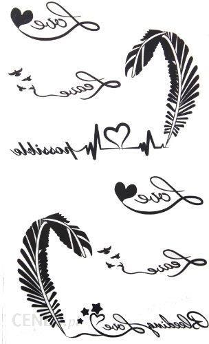 Amazon 2012 Nowy Wzór Kobieca Naklejka Wodoszczelna Kolor Czarny Z Białymi Literami Pióra Sztuczny Tatuaż Ceneopl