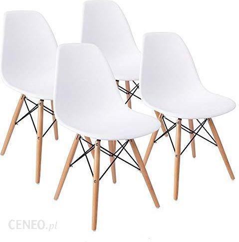 Amazon Zestaw 4 Wygodnych Krzeseł Eiffel Dsw Do Jadalni Sypialni Lub Kuchni Białe Krzesła Utrzymane W Stylu Retro Z Plastikowym Siedziskiem I Drewni