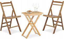 Stół Ogrodowy 2 Krzesła I Stolik Składane Bambus Na Ogród Balkon Ceny I Opinie Ceneopl