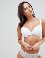 ASOS FULLER BUST Ruby Mix & Match Picot Trim Lace Moulded Bra - White
