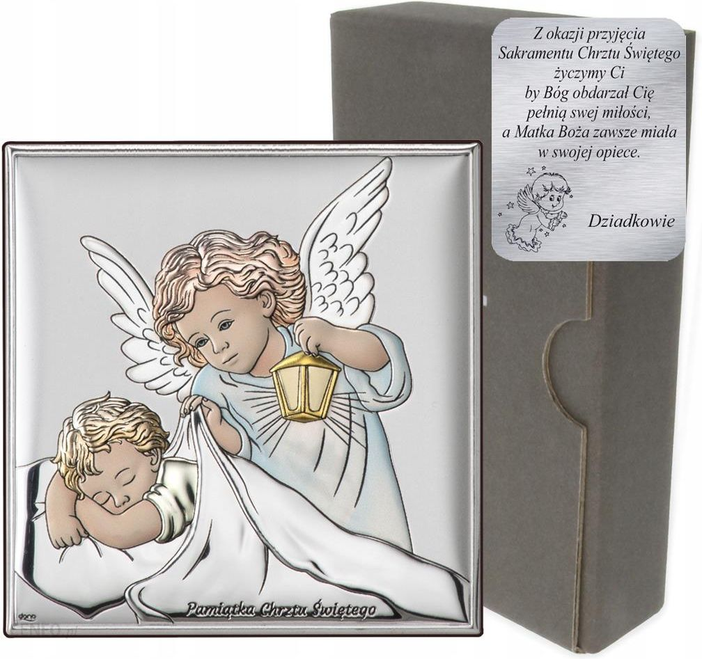 Srebrny Obrazek Aniolek Pamiatka Chrztu Swietego Ceny I Opinie