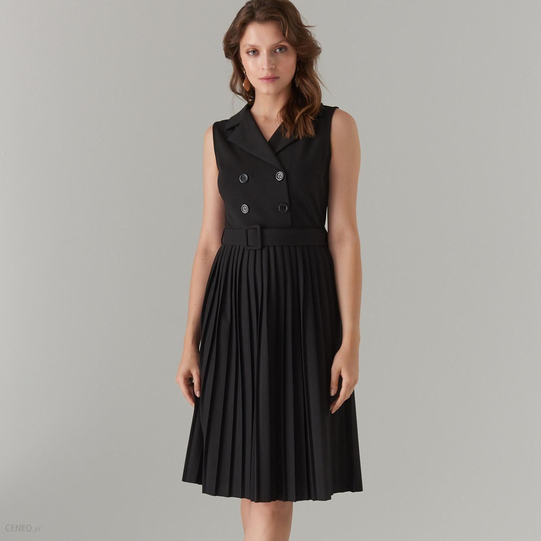 95ee714532b547 Mohito - Plisowana sukienka z paskiem - Czarny - Ceny i opinie ...