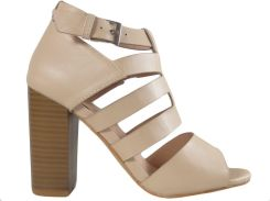 ed9af0fe1b4c69 Beżowe sandały na słupku stabilne buty damskie 37