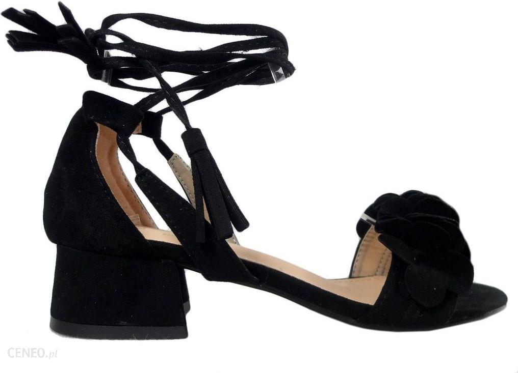 czarne sandały damskie na słupku