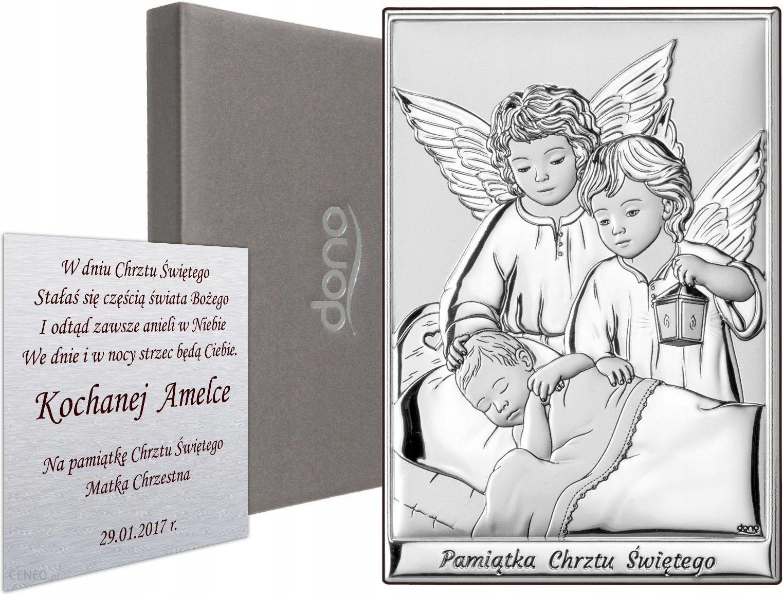 Srebrny Obrazek Aniolki Pamiatka Chrztu Swietego Ceny I Opinie