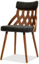 Mpt Eleganckie Krzesło Drewniany Ażur Aida Orzech Czarny
