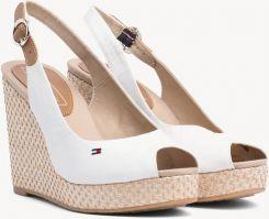 b0996a9be674e7 Tommy Hilfiger białe buty na koturnie Iconic Elena Basic Sling Back Whisper  White - 37