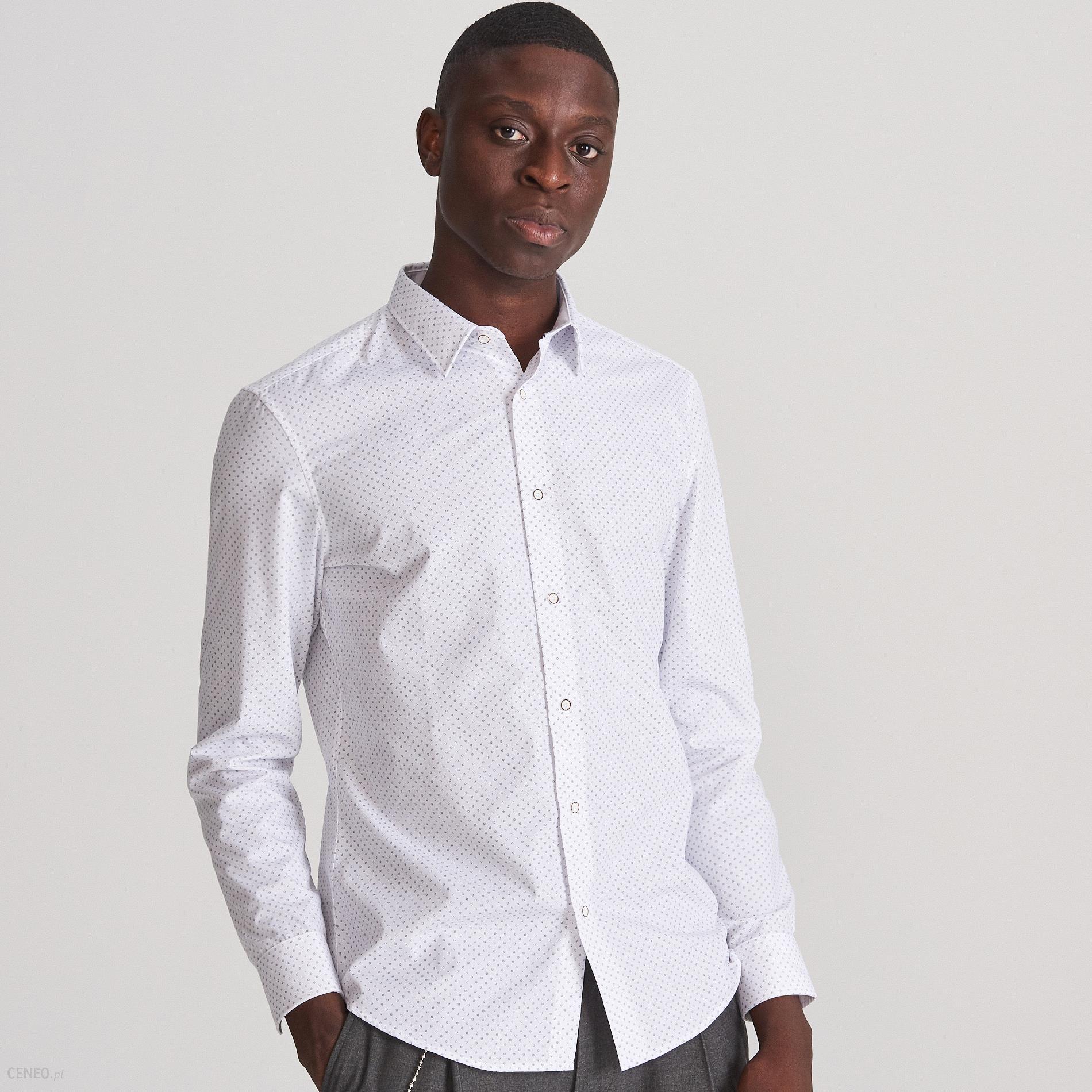 Reserved Koszula slim fit z mikroprintem Biały Ceny i  qkXgp