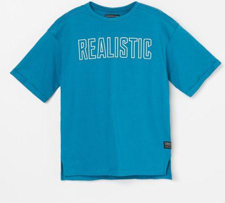 Reserved T shirt z nadrukiem w palmy Turkusowy Ceny i