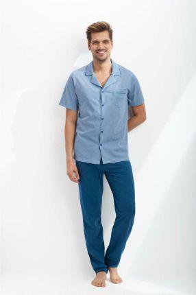2a4a246387621b Piżama męska rozpinana 770 2XL niebieska krótki rękaw długie spodnie Luna