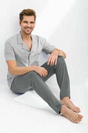 041f83d978f94d Piżama męska rozpinana 770 2XL szara krótki rękaw długie spodnie Luna