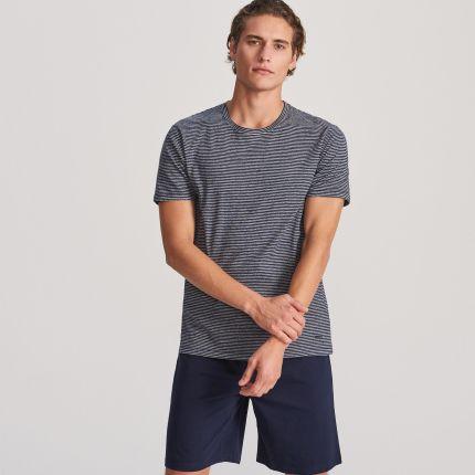 2f65d6066bef37 Reserved - Bawełniana piżama z szortami - Granatowy ...