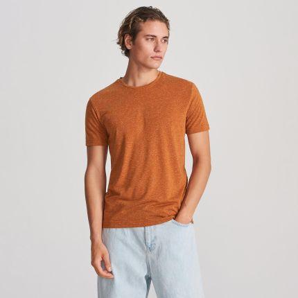 8da2ff115b804e Reserved - T-shirt z melanżowej dzianiny - Brązowy RESERVED.com. Koszulka  męska ReservedReserved ...